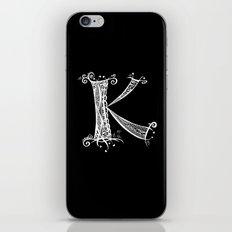 K White on Black iPhone & iPod Skin