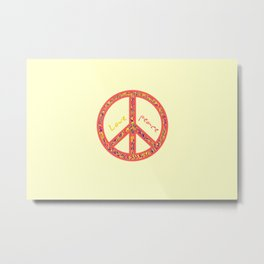 Peace and love, colorful and groovy hippie sign, 60's symbol of freedom Metal Print