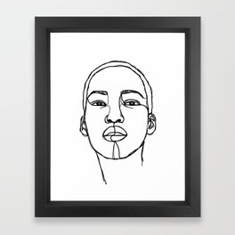 Woman's face line drawing illustration - Addie Framed Art Print