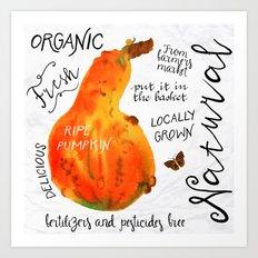 Watercolor pumpkin Art Print