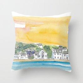 Port Ellen Islay Scotland Waterfront Throw Pillow