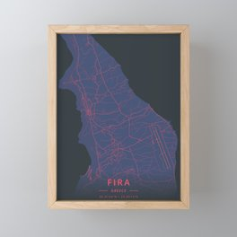 Fira, Greece - Neon Framed Mini Art Print