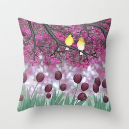 goldfinches, tulips, & flowering crabapple Throw Pillow