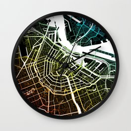 Colourful City Map of Amsterdam, Netherlands Wall Clock