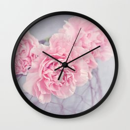 Pale Pink Carnations Wall Clock