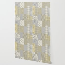 Modern Farmhouse Patchwork Quilt in Gray Marigold and Oatmeal Wallpaper