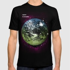 Space To Breathe Black Mens Fitted Tee MEDIUM