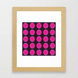 Hot Magenta Lotus Flower Pattern Framed Art Print