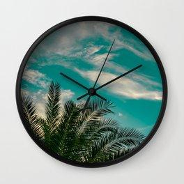Palms on Turquoise - II Wall Clock