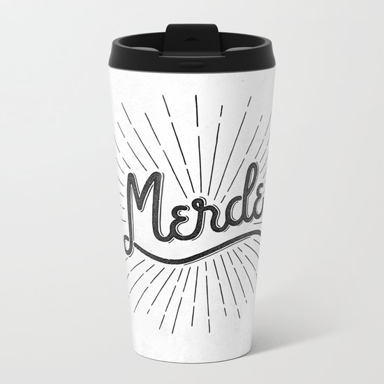 MERDE - BLANC Metal Travel Mug
