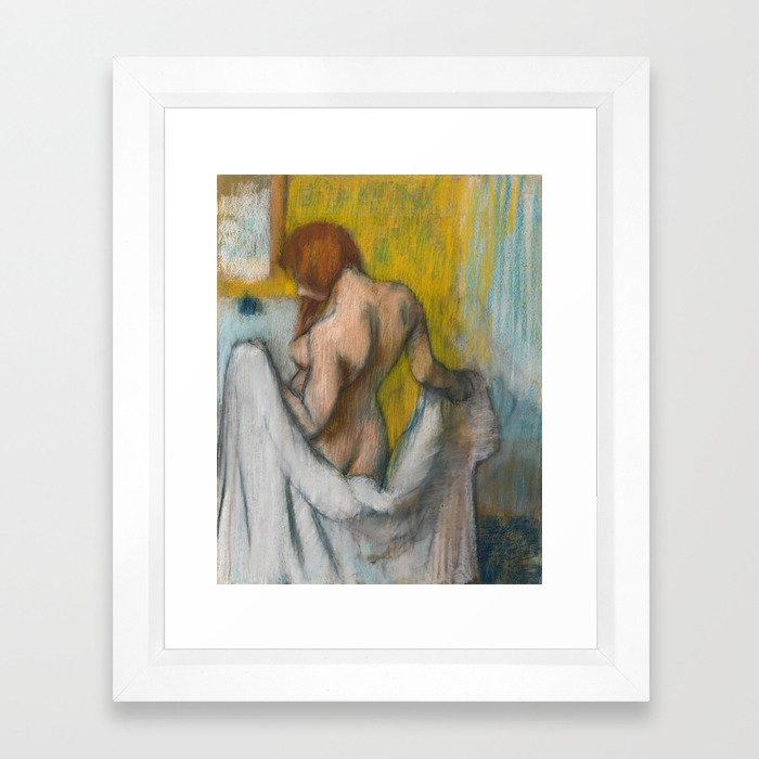 Woman with a Towel by Edgar Degas Framed Art Print