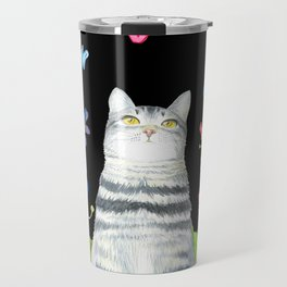 Tabby Cat with Butterflies and Flowers Travel Mug