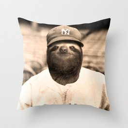 Baseball Sloth Throw Pillow