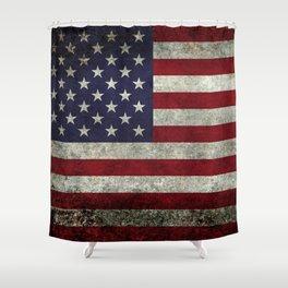 American Flag, Old Glory in dark worn grunge Shower Curtain