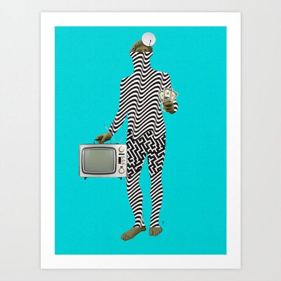 Statue statically Blue v2 Art Print