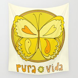 pura vida peace butterfly // retro art by surfy birdy Wall Tapestry