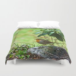 Robin in the spring Duvet Cover