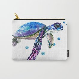 Sea Turtle, blue purple illustration children room cute turtle artwork Carry-All Pouch
