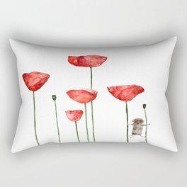Little mouse loves big poppies  Rectangular Pillow