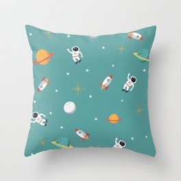 Space Pattern Illustration with Cyan Background Throw Pillow