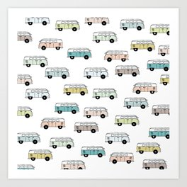Happy Camper Van Bus blue traveling hippie summer pattern design print Art Print