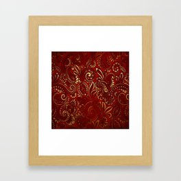 Red Burgundy Deep Gold Paisley Floral Pattern Print Framed Art Print