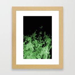 Green Flame on Black Framed Art Print