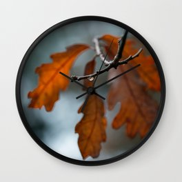 Rain Drop and Oak Leaves Wall Clock