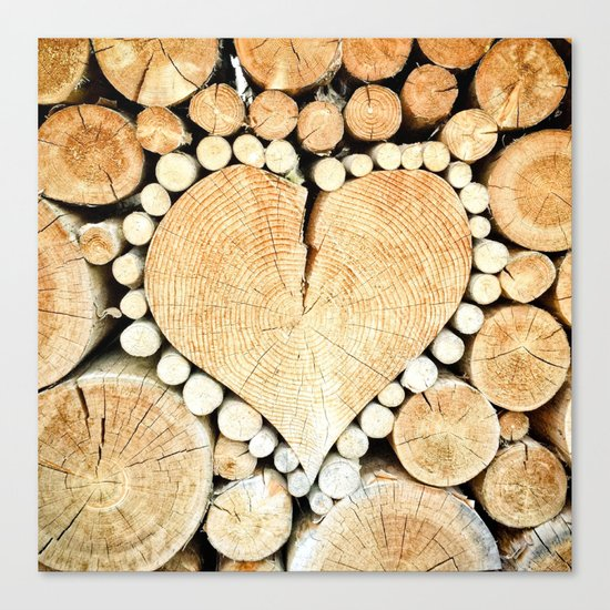 Wood Heart Symbol Canvas Print