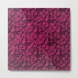 Vintage Floral Lace Leaf Pink Yarrow Metal Print