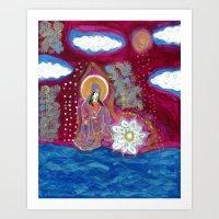 budi satria kwan Art Prints featuring Offerings-Kwan Yin by J. Lashua Art
