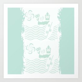 Surfer Stripes sea glass Art Print