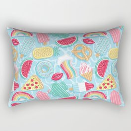 Epic pool floats top view // blue background Rectangular Pillow