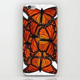 ORNATE PATTERN OF ORANGE MONARCH BUTTERFLIES ART iPhone Skin