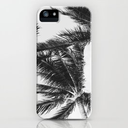 Black and White Hawaiian Palm Trees iPhone Case