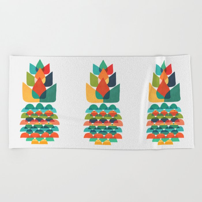 Colorful Whimsical Ananas Beach Towel