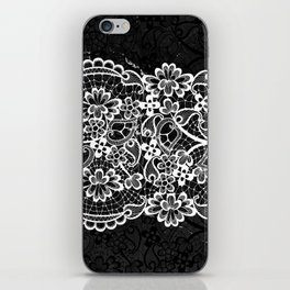 Black and White Lace Ornamental Pattern on Marble iPhone Skin