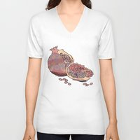 pomegranate V-neck T-shirts featuring Pomegranate by Alex&ra Arens