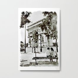 The Arc de Triomphe Paris Black and White Metal Print