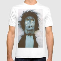 Blue Baboon White MEDIUM Mens Fitted Tee