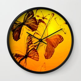 Fly fly butterfly! - Butterflies on a orange background with sunlight #society6 #buyart Wall Clock