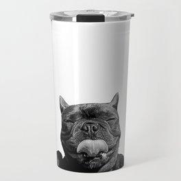 frenchie licking you Travel Mug
