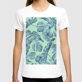 Tropical Leaves and Flowers Luxe Ocean Teal Blue Pastel Green T-shirt