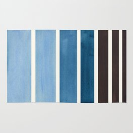 Green Blue Minimalist Watercolor Mid Century Staggered Stripes Rothko Color Block Geometric Art Rug