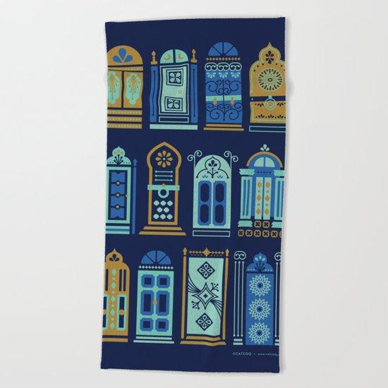 Moroccan Doors – Navy Palette Beach Towel