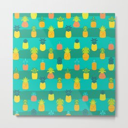 Pineapples Pattern Cute 479 Metal Print