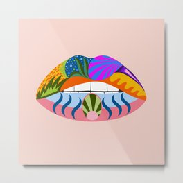 Lips with bold abstract patterns, retro pop art illustration Metal Print
