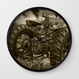Abandoned Old Farmall Tractor in Sepia Tone Wall Clock