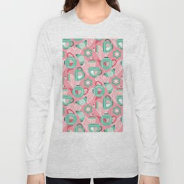 Abstract mauve pink green white sweet pattern Long Sleeve T-shirt