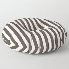 Brown and White Cabana Stripes Palm Beach Preppy Floor Pillow